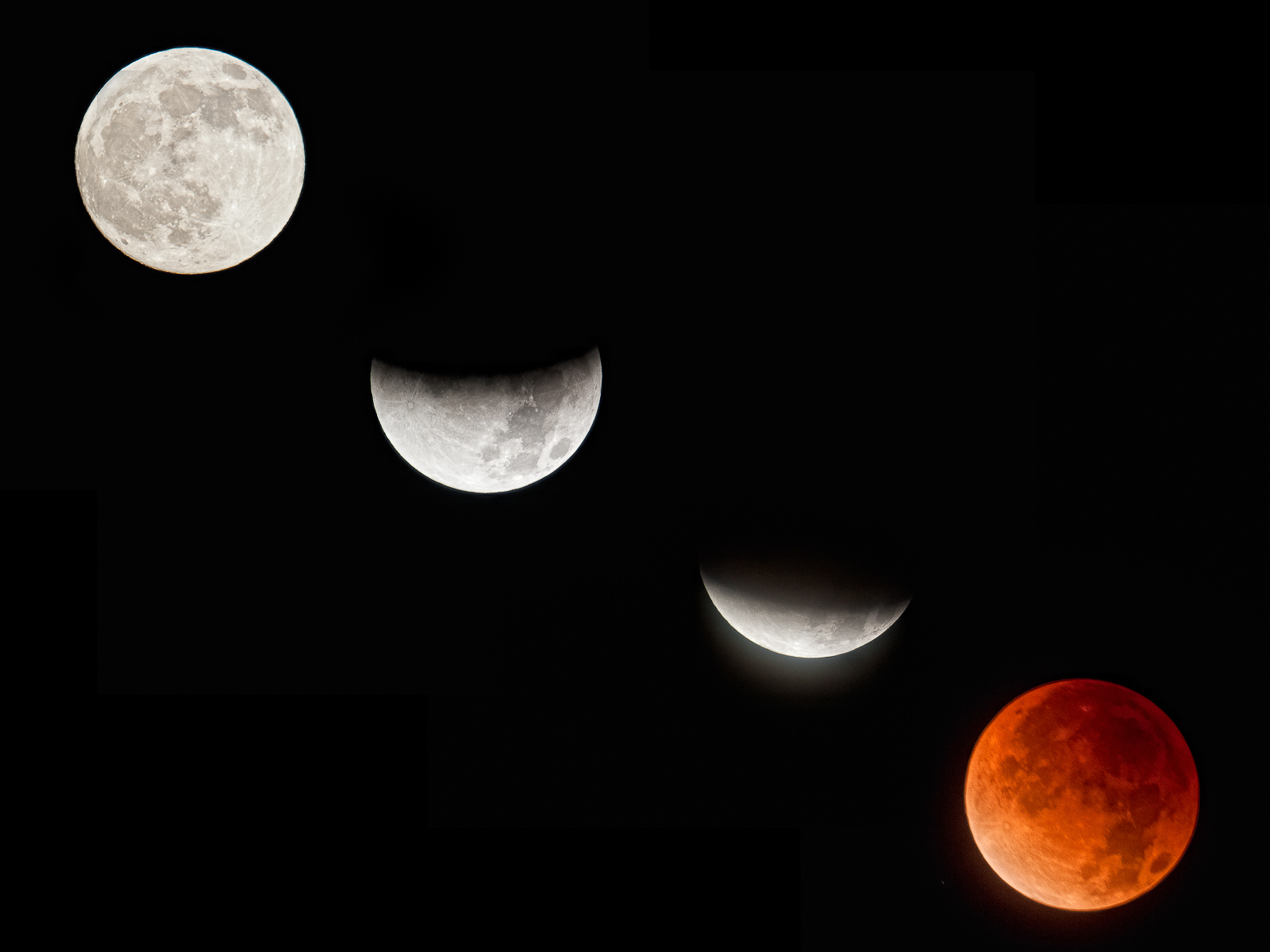 Lunar eclipse from full moon to total eclipse