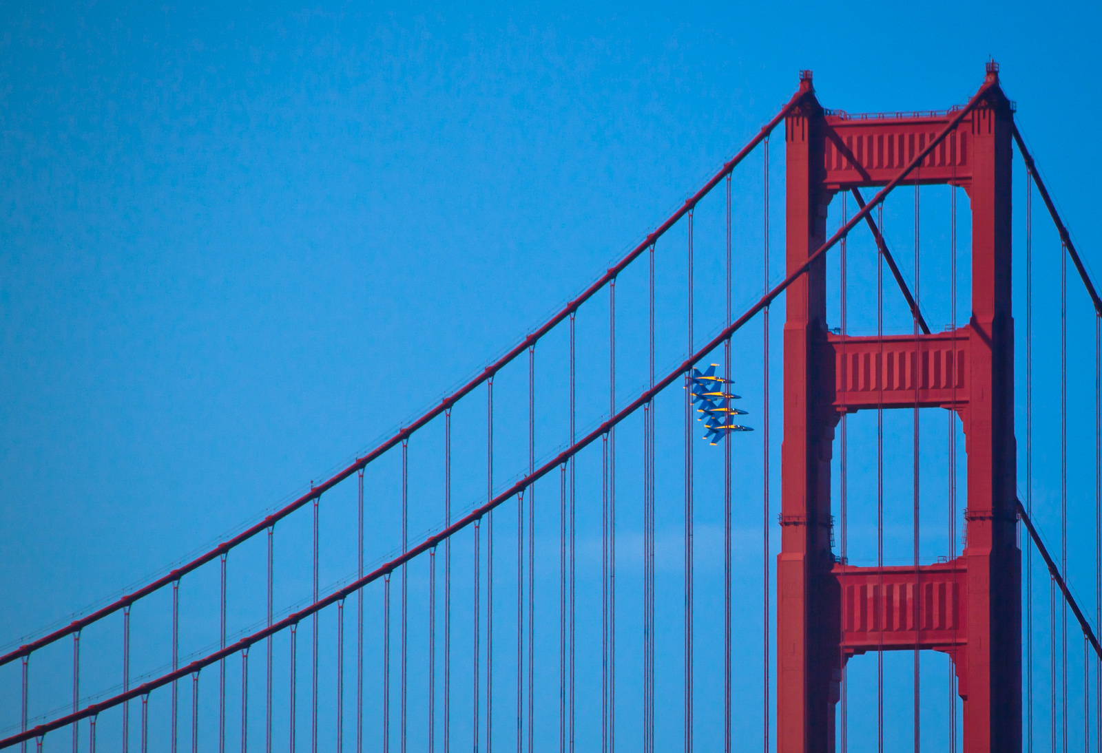 A View of the Golden Gate Bridge with the Blue Angels