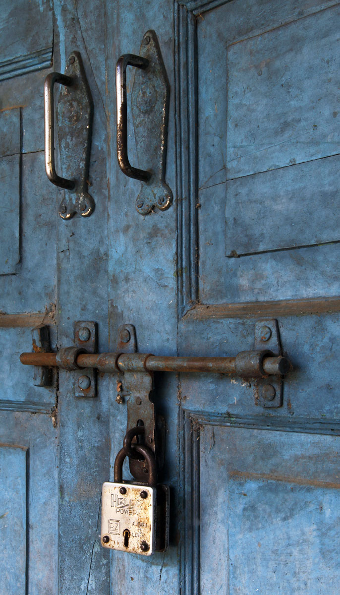Brass Lock and Blue Door