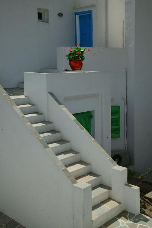 Steps to the blue door