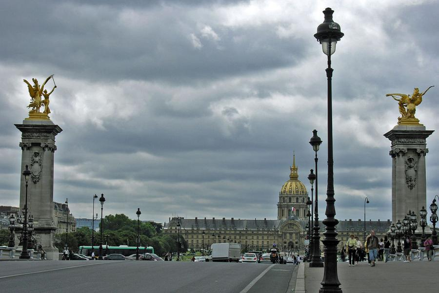 Crossing the Pont Alexandre Bridge, with Place des Invalides in background, Paris