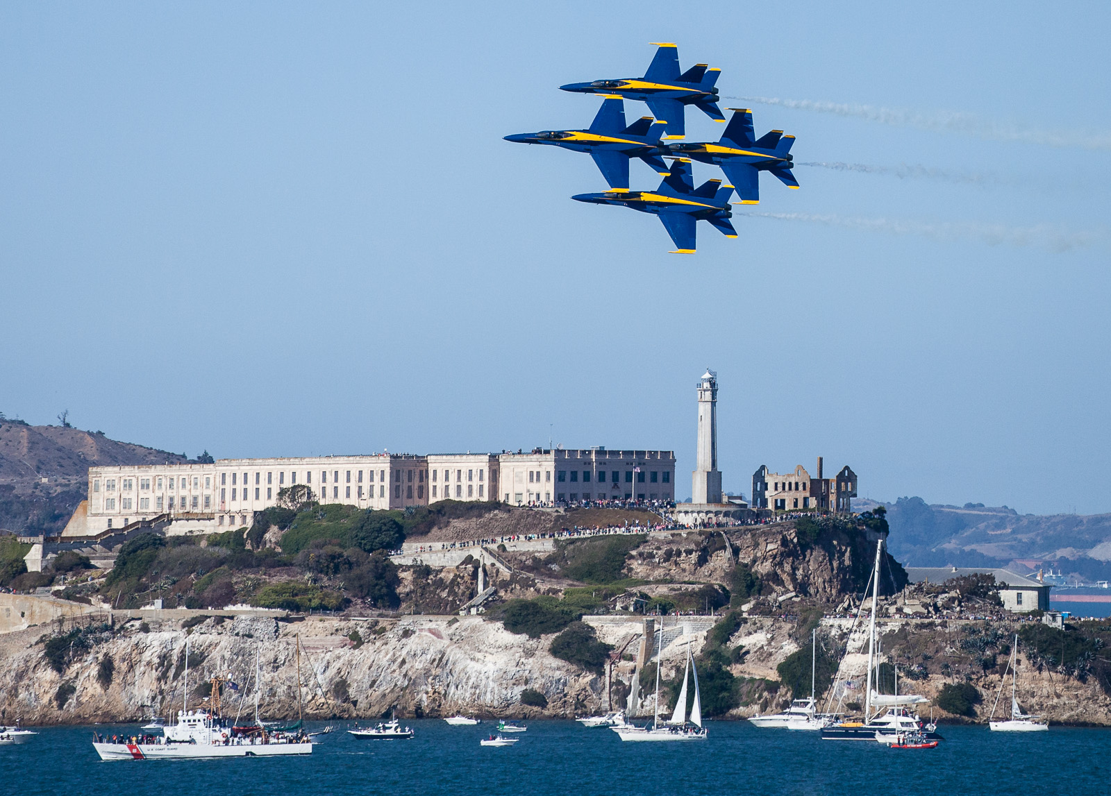 Blue Angels low pass formation over SF harbor and Alcatraz - Fleet Week 2012