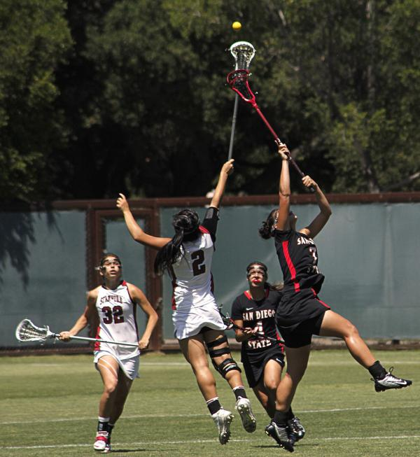 Lacrosse battle for the ball by Stanford-San Diego State