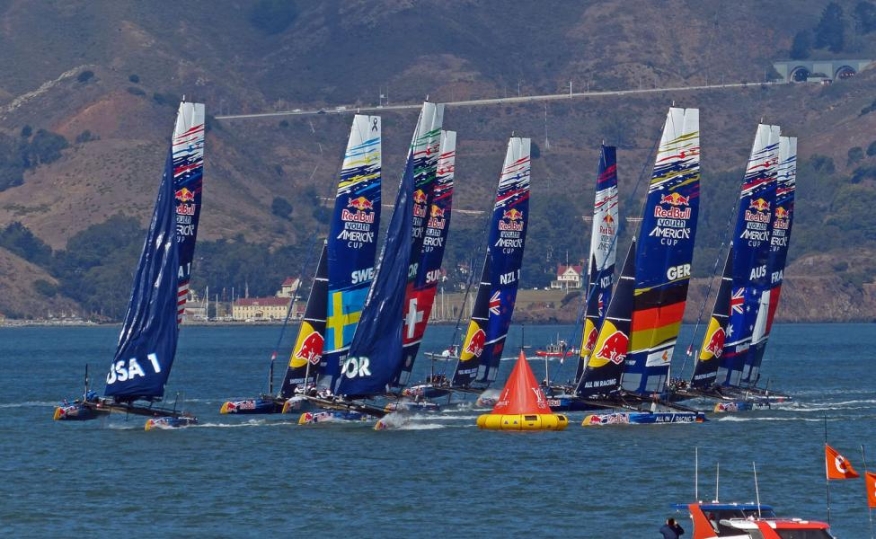 USA cuts around the cone in the Redbull Youth Race-America's Cup San Francisco