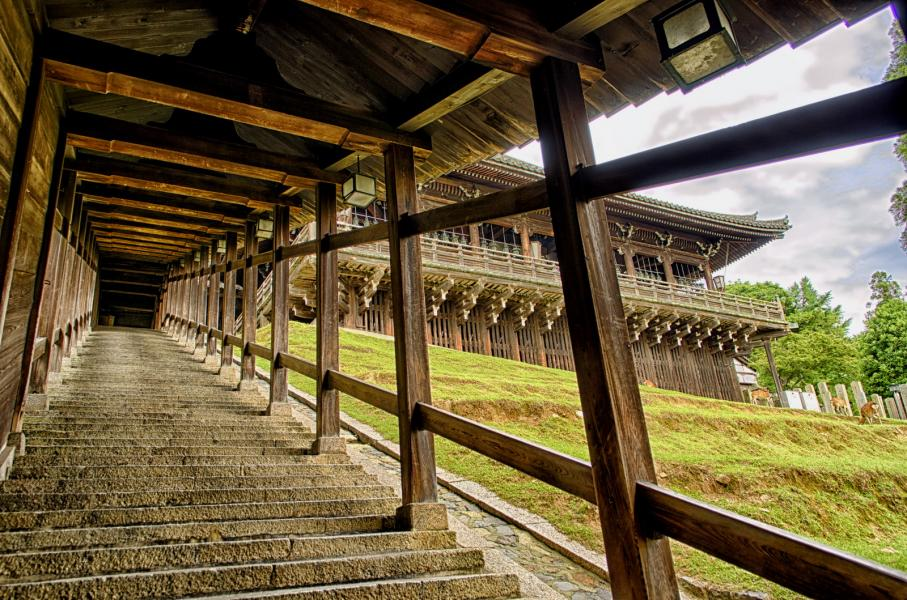 Stairs to The Hall of The Second Month(Nigatsu-do), Nara Japan