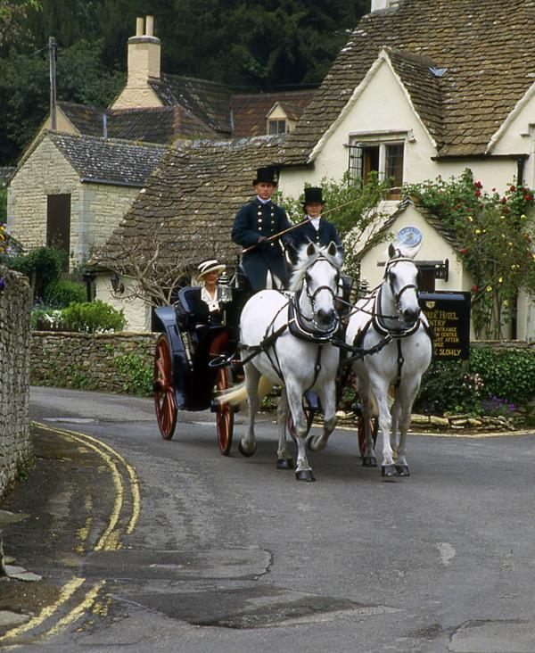 Part of the Wedding Party arrives in Castle Coombe, England