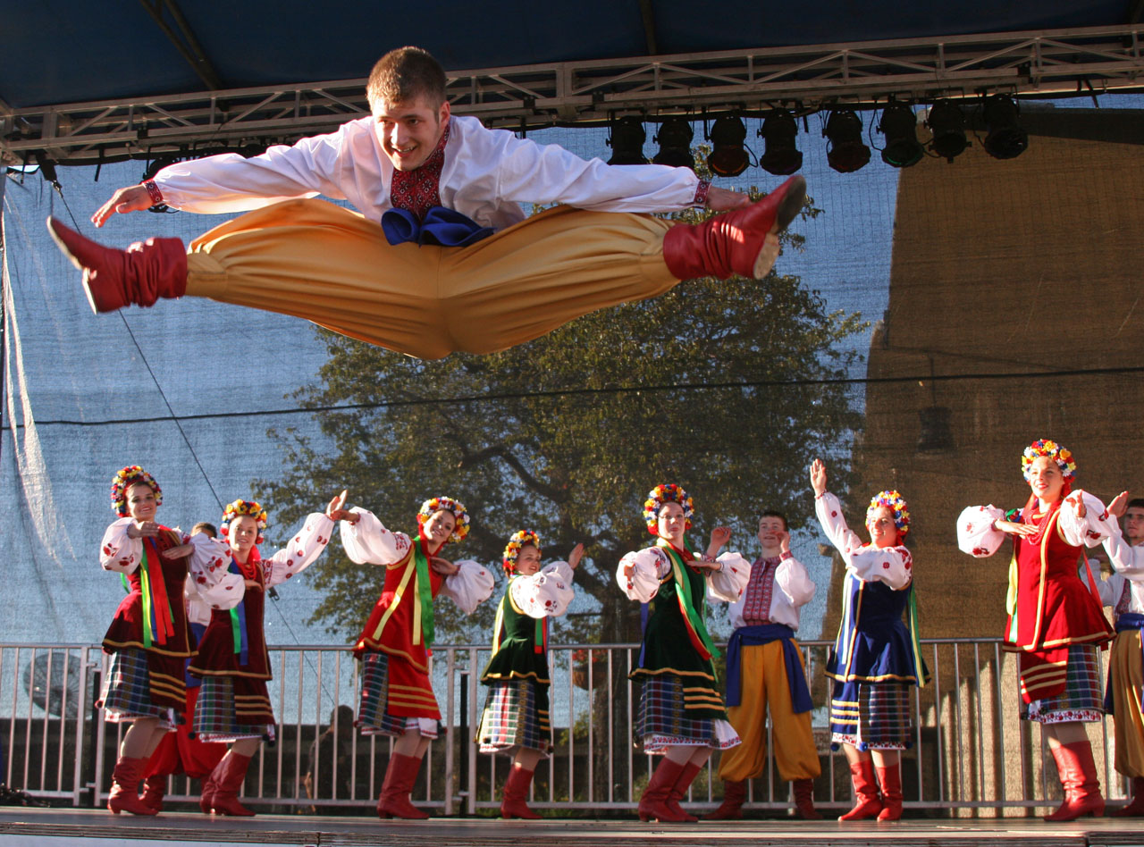 Energetic Ukrainian Dancers in Action at San Mateo Fair