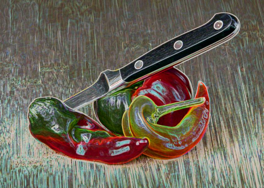 Peppers and Knife