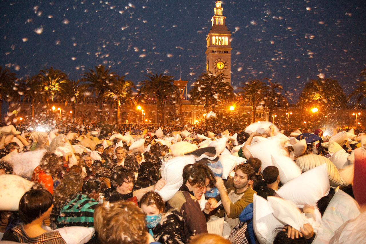 Melee at the Ferry Building, Great Valentine's Day Pillow Fight in SF