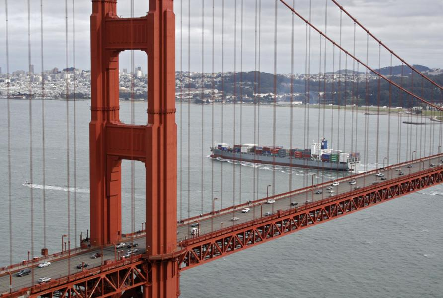 Cargo Ship Passes Under Golden Gate