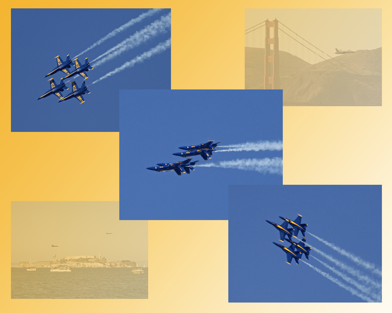 Blue Angels Do Wing Over in Tight Diamond Formation, SF