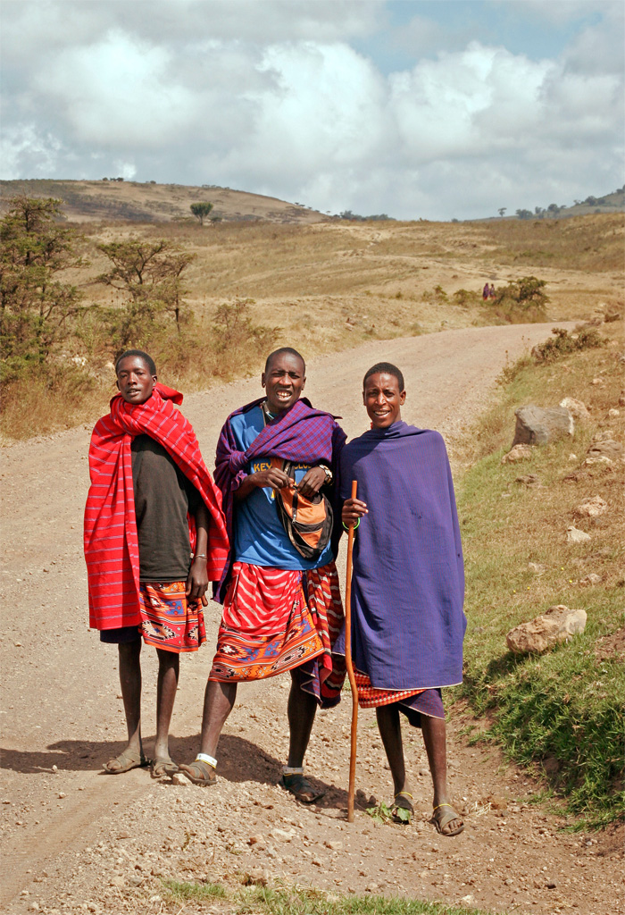 Masai Herdsmen in Traditional Colors, Tanzania, Africa