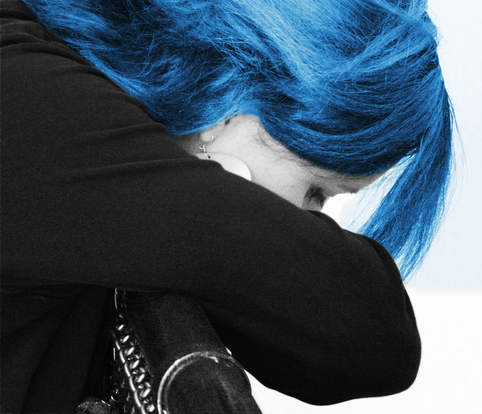 A Blue Haired Young Lady