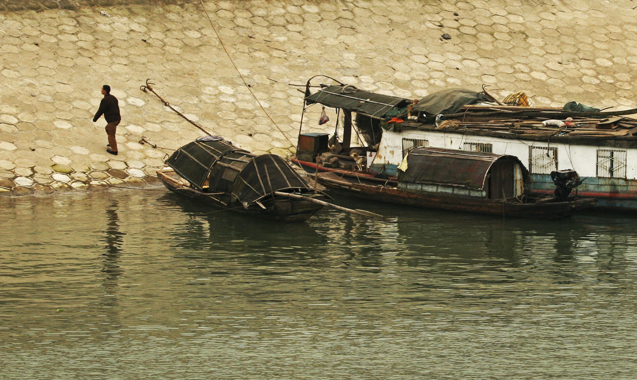 Parking His Sandpan on Bank of Yangtze River China