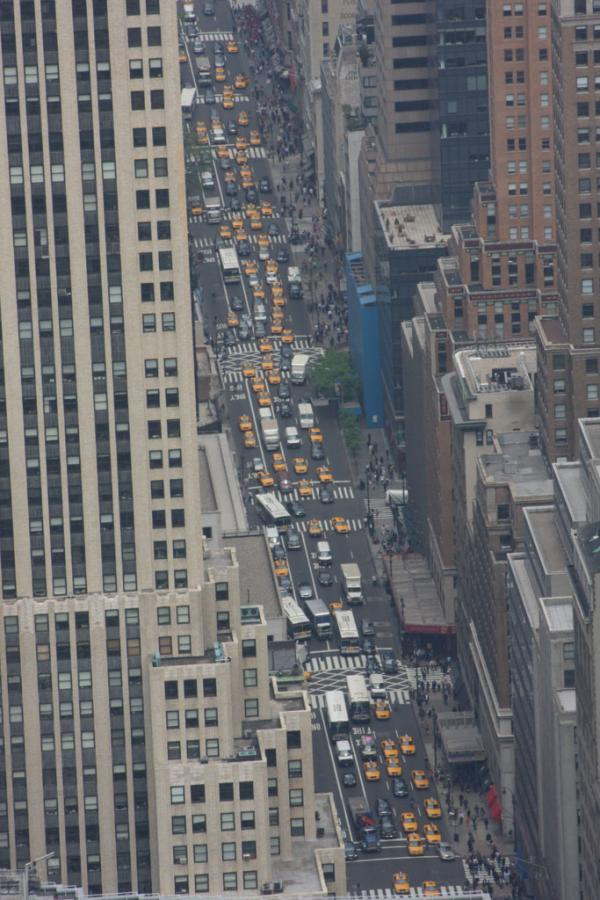 Taxi Conga Line in midtown Manhattan