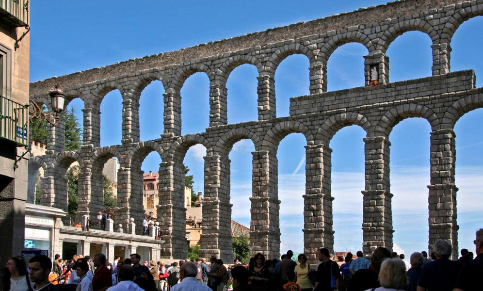 The Roman Aqueduct in Sewgovia, Spain