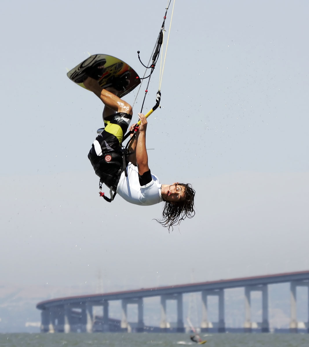 Wild Eyed Kite Boarder Goes Upside Down, King of the Bay, Foster City