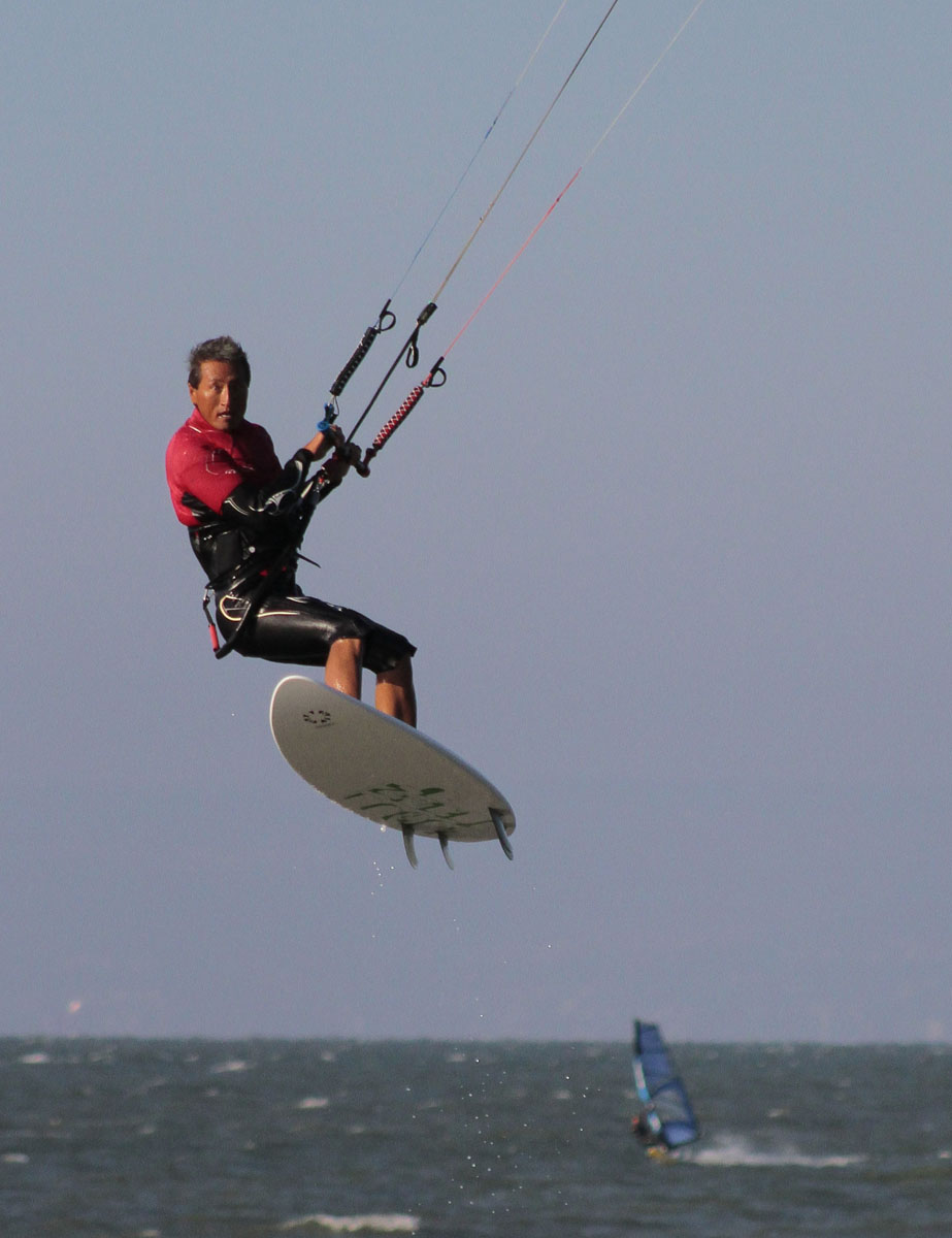 Up in the Air, Kitesurfing at the Shoreline, Seal Park, CA
