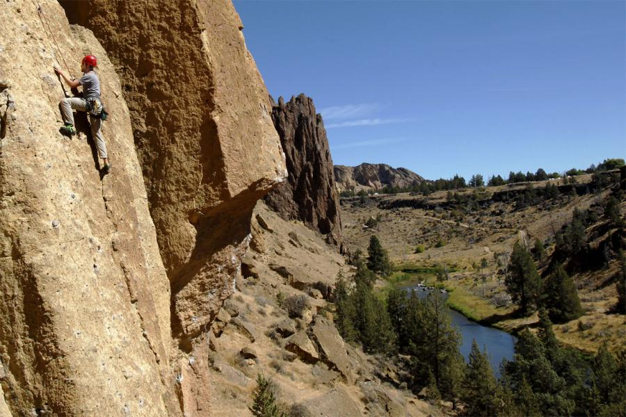 Free Climbing Smith Rock Above the Crooked River, Oregon