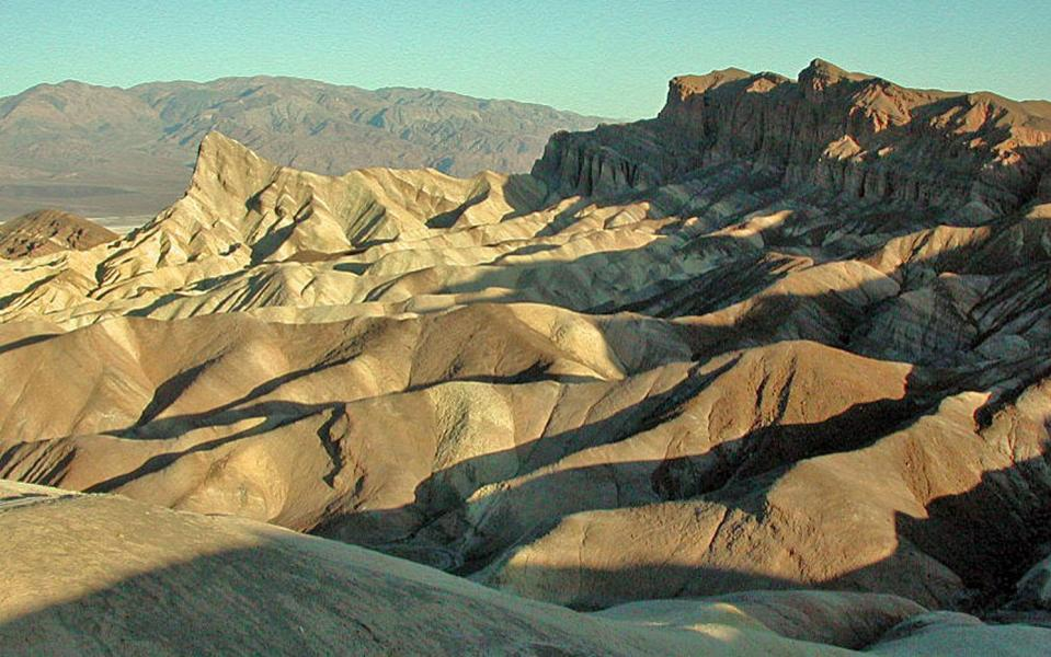 The Zabriskie Point badlands are developed on a mudstone foundation( Furance Creek Formation)
