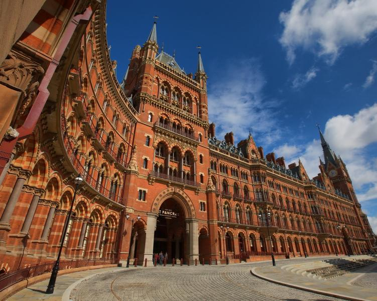 Restored Rennaissance Hotel (dating from 1873) at St Pancras Station, London