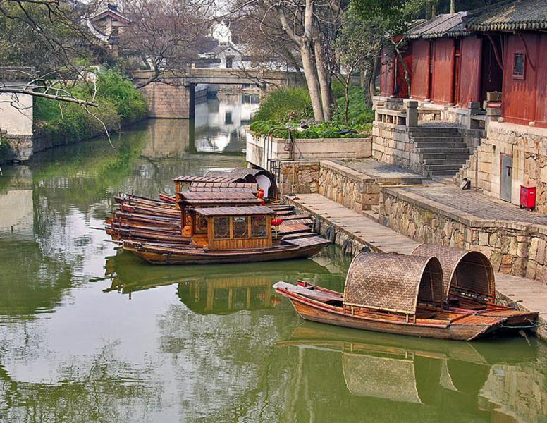 Boats on the moat, Tiger Hill Pagoda, Suzhou, China